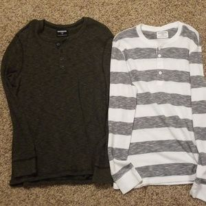 Two mens express long sleeve thermal Henley tops